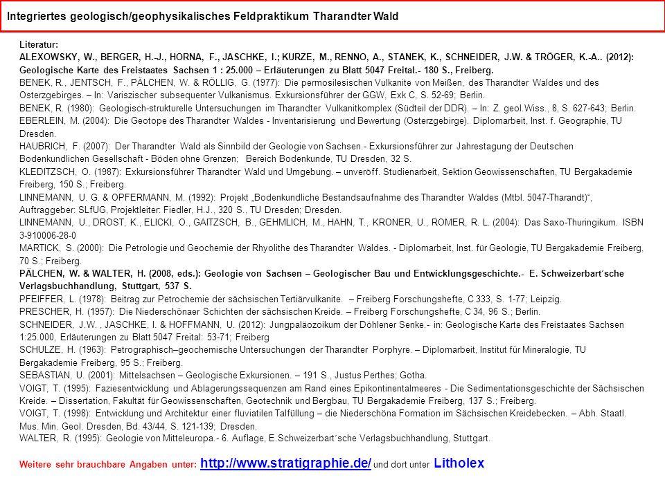 Integriertes geologisch/geophysikalisches Feldpraktikum Tharandter Wald Literatur: ALEXOWSKY, W., BERGER, H.-J., HORNA, F., JASCHKE, I.; KURZE, M., RENNO, A., STANEK, K., SCHNEIDER, J.W.
