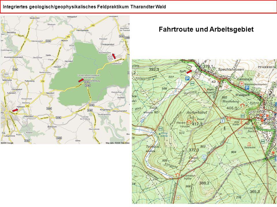 Integriertes geologisch/geophysikalisches Feldpraktikum Tharandter Wald Fahrtroute und Arbeitsgebiet