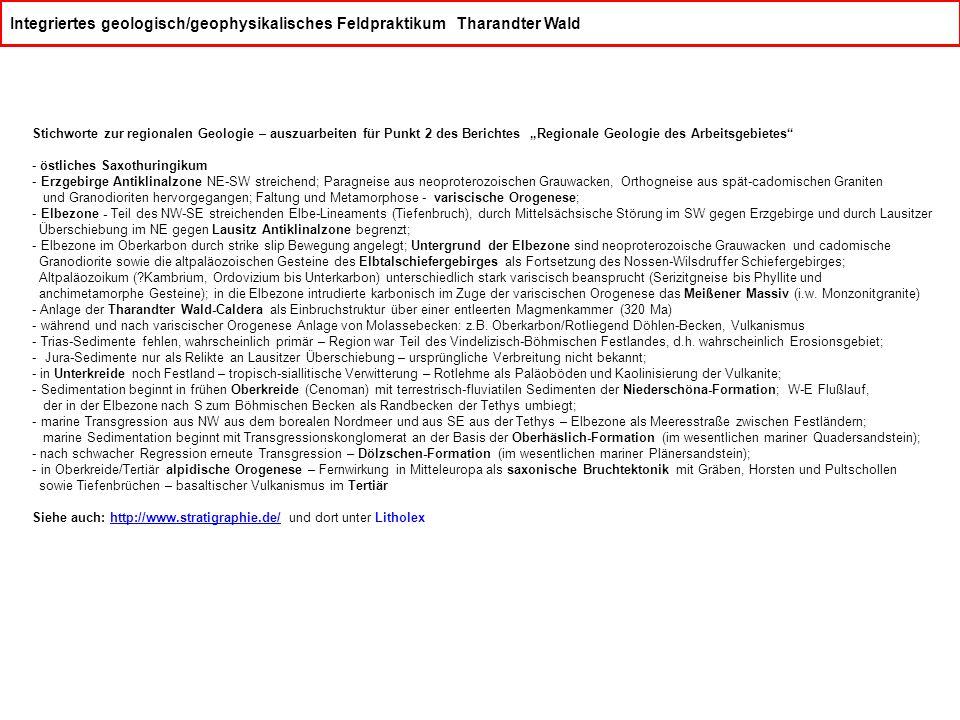 """Integriertes geologisch/geophysikalisches Feldpraktikum Tharandter Wald Stichworte zur regionalen Geologie – auszuarbeiten für Punkt 2 des Berichtes """""""