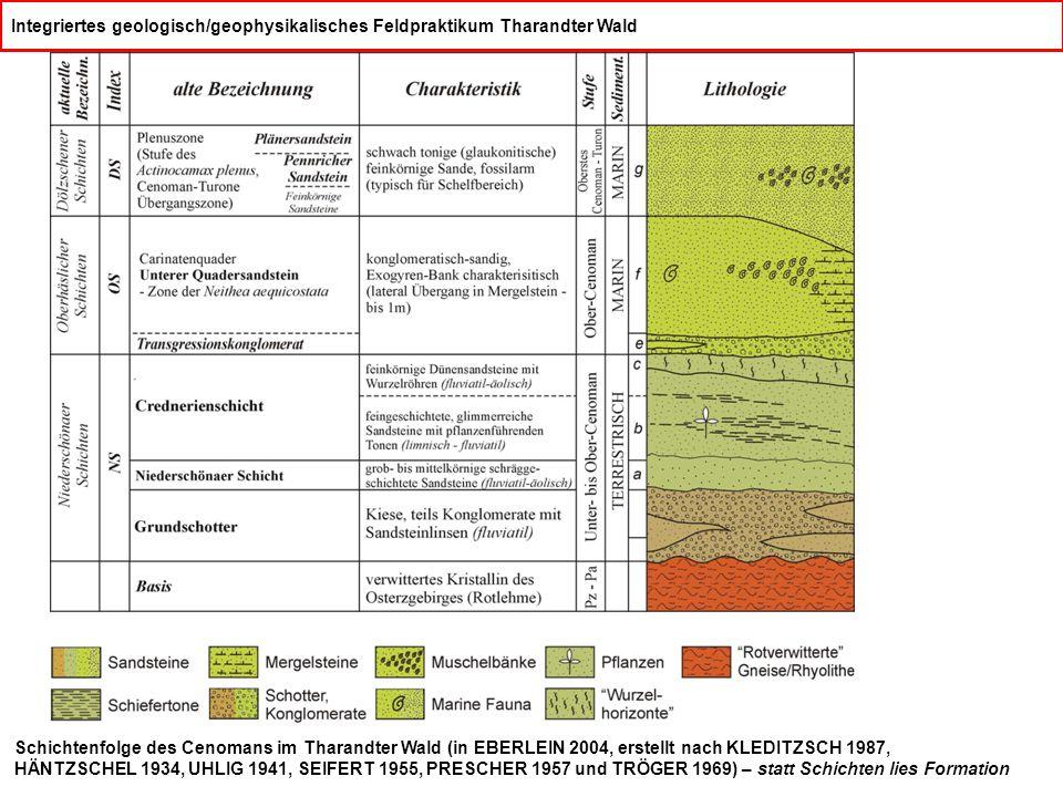 Integriertes geologisch/geophysikalisches Feldpraktikum Tharandter Wald Schichtenfolge des Cenomans im Tharandter Wald (in EBERLEIN 2004, erstellt nach KLEDITZSCH 1987, HÄNTZSCHEL 1934, UHLIG 1941, SEIFERT 1955, PRESCHER 1957 und TRÖGER 1969) – statt Schichten lies Formation