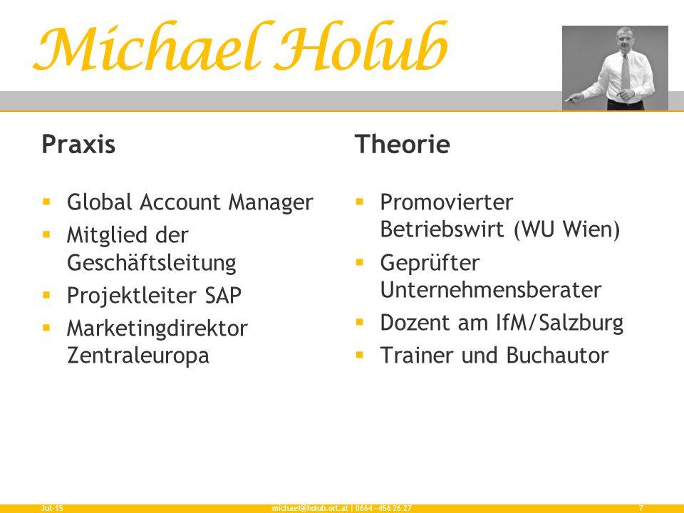 Praxis  Global Account Manager  Mitglied der Geschäftsleitung  Projektleiter SAP  Marketingdirektor Zentraleuropa Theorie  Promovierter Betriebsw