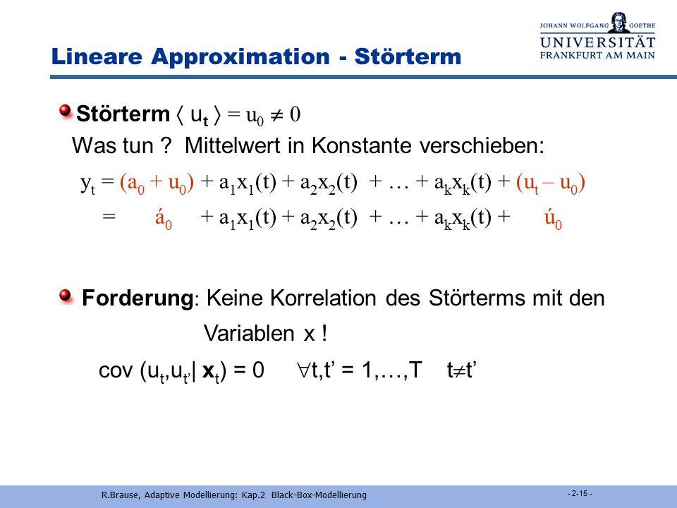 R.Brause, Adaptive Modellierung: Kap.2 Black-Box-Modellierung - 2-14 - Lineare Approximation Parameter konstant ?  Schätzung liegt vor.  Parameter a