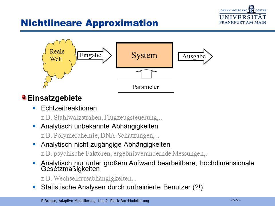 R.Brause, Adaptive Modellierung: Kap.2 Black-Box-Modellierung - 2-21 - Nichtlineare Approximation Einsatzarten  Adaptive Schätzung von Prozeßparamete