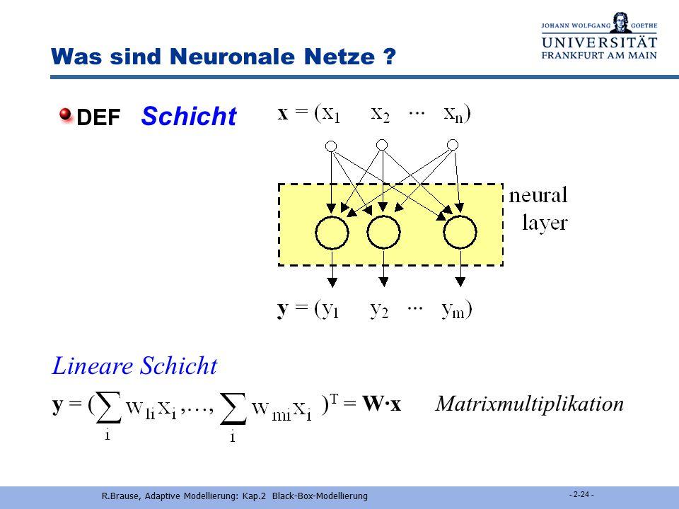 R.Brause, Adaptive Modellierung: Kap.2 Black-Box-Modellierung - 2-23 - Was sind Neuronale Netze ? x 1 x 2 x 3 w 1 w 2 w 3 y z Akti- vierung Ausgabe (A