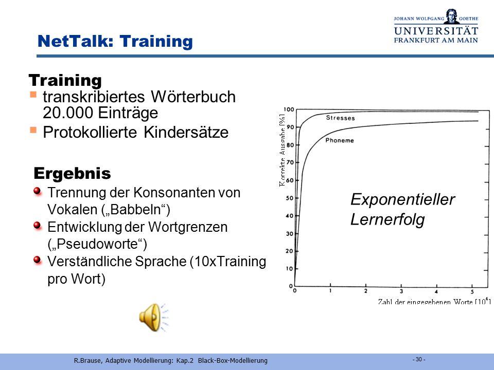 R.Brause, Adaptive Modellierung: Kap.2 Black-Box-Modellierung - 2-29 - Anwendung - NetTalk Ergebnisse: 3 Phasen des Sprachlernens  Zuerst wurden die