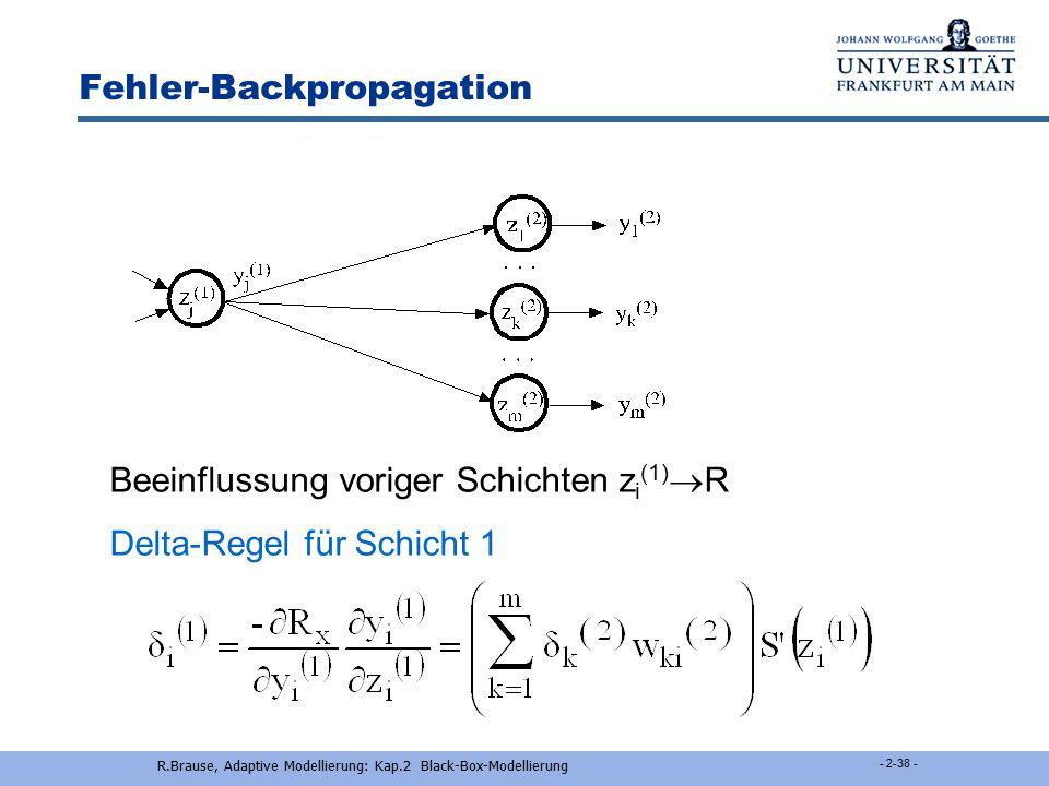 R.Brause, Adaptive Modellierung: Kap.2 Black-Box-Modellierung - 2-37 - Backpropagation-Lernregel letzte Schicht Lernziel: R(w*) = min E(y(w) - L(x)) 2