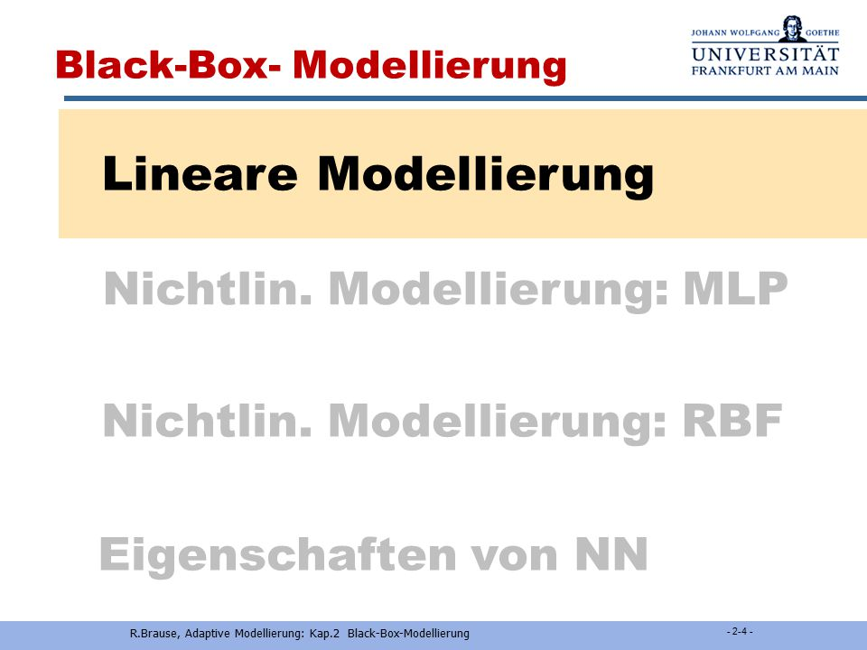 R.Brause, Adaptive Modellierung: Kap.2 Black-Box-Modellierung - 2-14 - Lineare Approximation Parameter konstant .