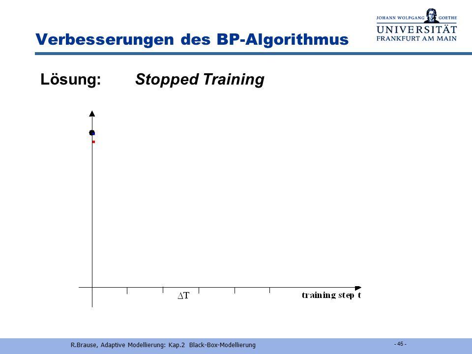 R.Brause, Adaptive Modellierung: Kap.2 Black-Box-Modellierung - 44 - Verbesserungen des BP-Algorithmus Problem Trotz guter Trainingsleistung zeigt der