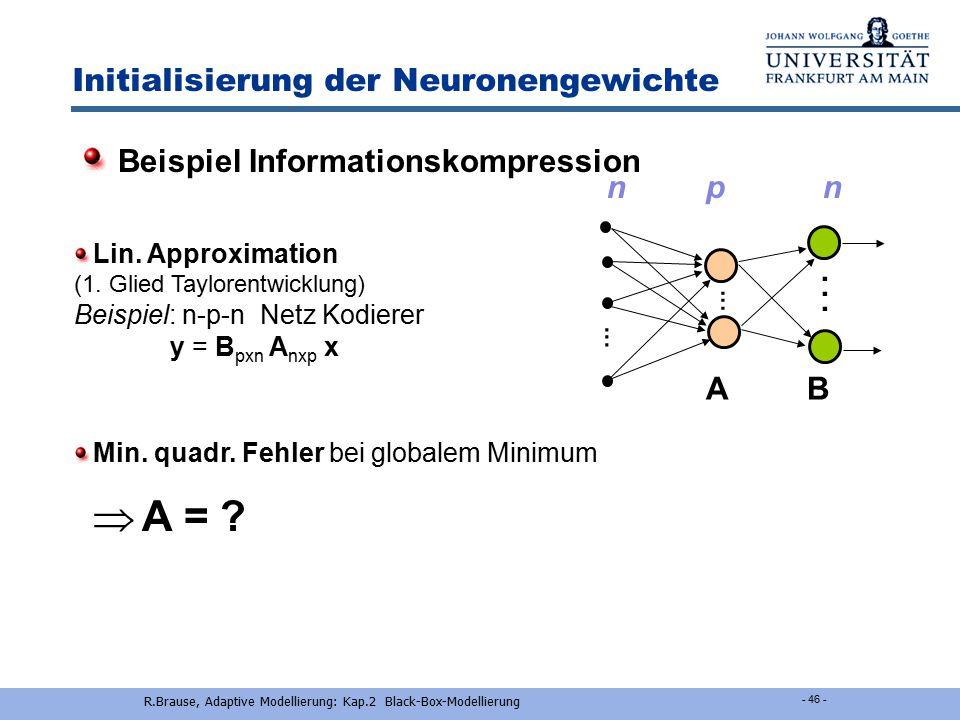 R.Brause, Adaptive Modellierung: Kap.2 Black-Box-Modellierung - 45 - Verbesserungen des BP-Algorithmus Lösung:Stopped Training