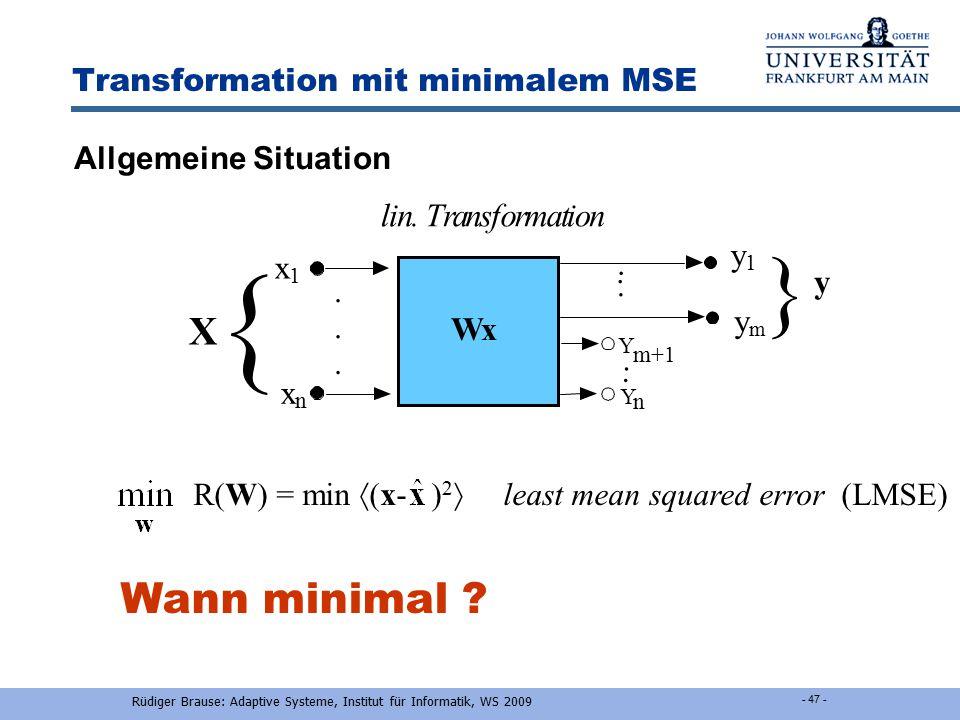 R.Brause, Adaptive Modellierung: Kap.2 Black-Box-Modellierung - 46 - Initialisierung der Neuronengewichte Lin. Approximation (1. Glied Taylorentwicklu
