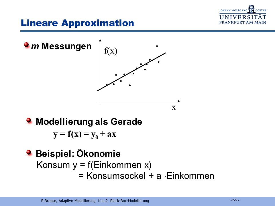 Nichtlin. Modellierung: RBF Lineare Modellierung Nichtlin. Modellierung: MLP Eigenschaften von NN - 2-4 - R.Brause, Adaptive Modellierung: Kap.2 Black