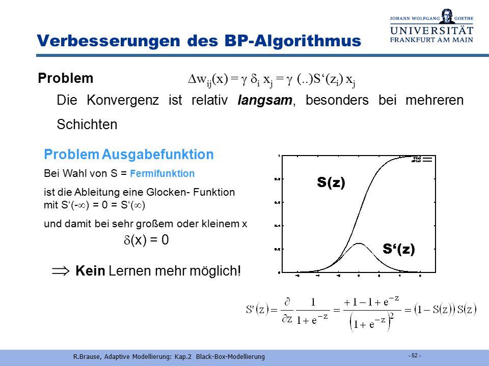R.Brause, Adaptive Modellierung: Kap.2 Black-Box-Modellierung - 2-51 - Normierung der Eingangsvariablen Abstände bilden nur mit normierten Variablen M