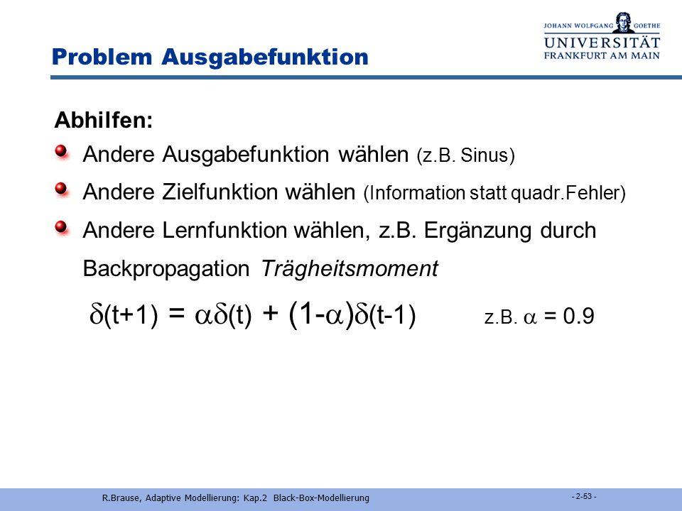 R.Brause, Adaptive Modellierung: Kap.2 Black-Box-Modellierung - 52 - Verbesserungen des BP-Algorithmus Problem  w ij (x) =   i x j =  (..)S'(z i )