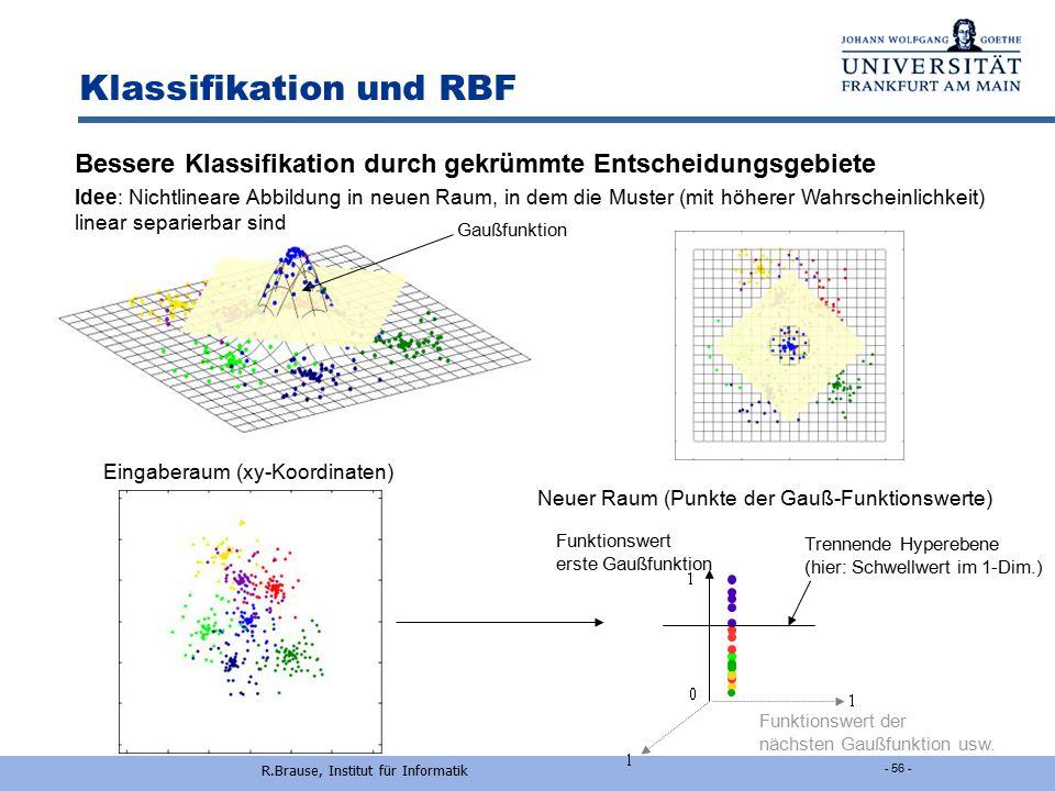 Rüdiger Brause: Adaptive Systeme, Institut für Informatik, WS 2013/14 - 55 - Klassifikation und RBF Motivation: lokale Cluster-Klassenbildung  i = {