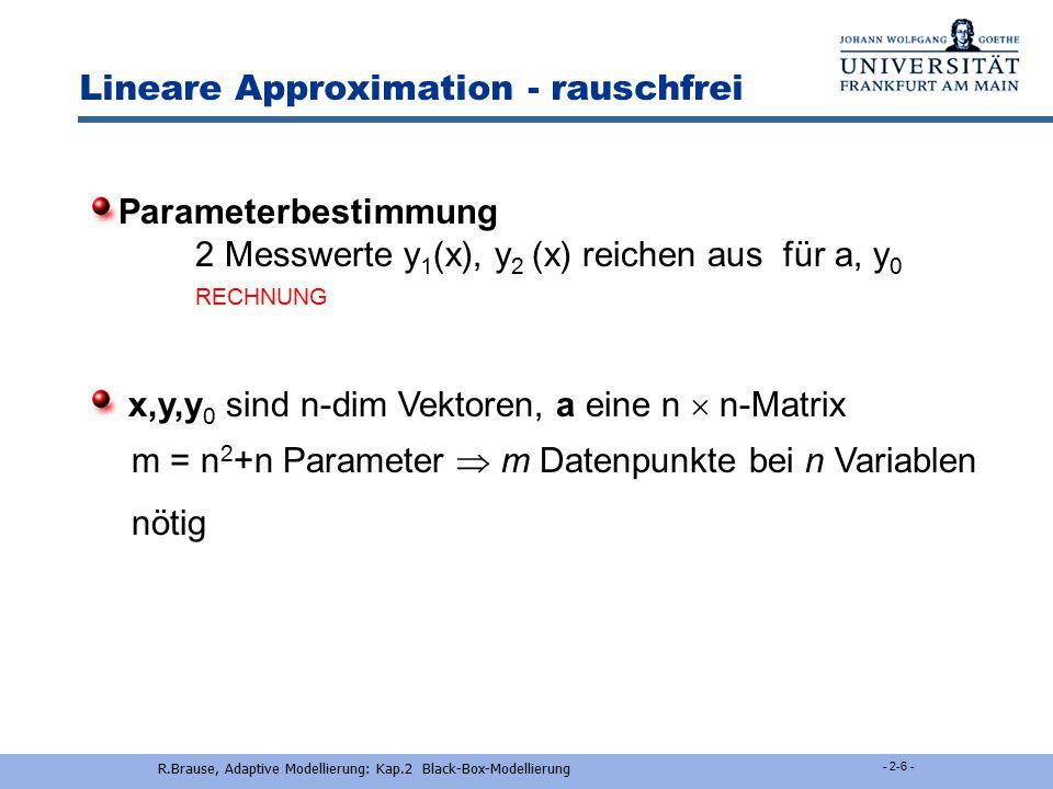 R.Brause, Adaptive Modellierung: Kap.2 Black-Box-Modellierung - 2-5 - Lineare Approximation m Messungen f(x) x Modellierung als Gerade y = f(x) = y 0