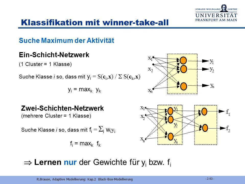 R.Brause, Adaptive Modellierung: Kap.2 Black-Box-Modellierung - 2-62 - Klassifikation mit RBF-Netzen Beste KlassifizierungBayes-Klassifizierung Suche