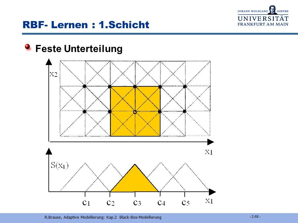 R.Brause, Adaptive Modellierung: Kap.2 Black-Box-Modellierung - 2-67 - RBF-Lernen : 1.Schicht k-means-Clusterung Wähle k zufällige Muster x j  A als