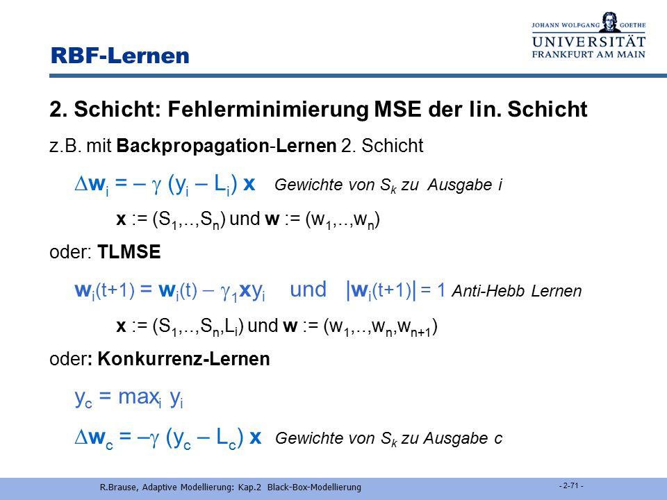 R.Brause, Adaptive Modellierung: Kap.2 Black-Box-Modellierung - 2-70 - RBF-Lernen Erstellen der 1. Schicht: Sequentielle Regression Start mit einem Ne