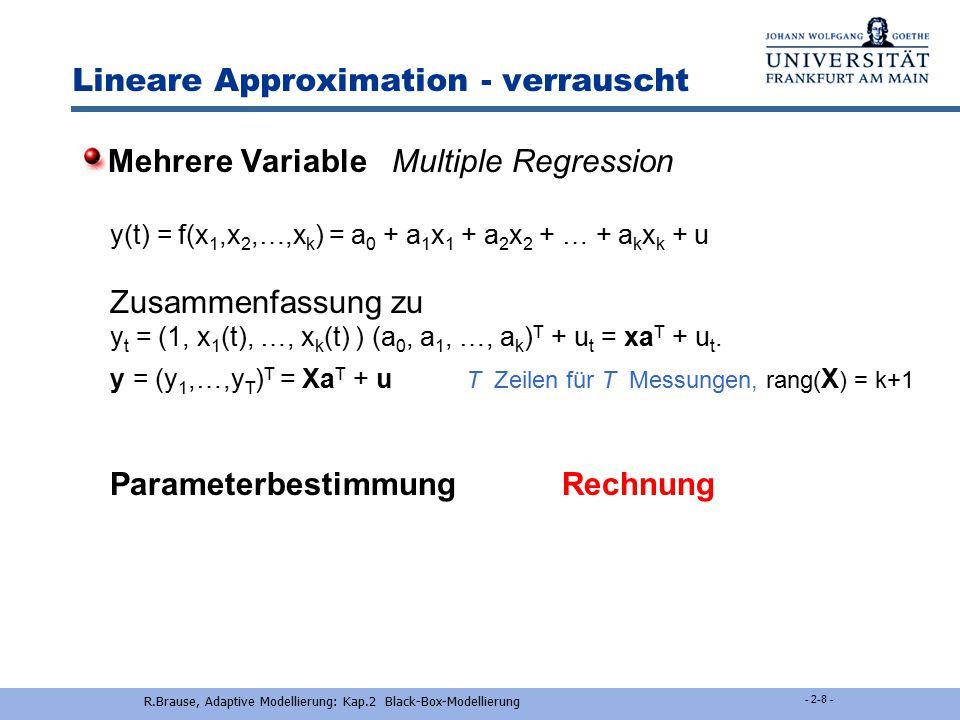 R.Brause, Adaptive Modellierung: Kap.2 Black-Box-Modellierung - 2-7 - Lineare Approximation - verrauscht ParameterbestimmungRechnung aus Varianz und K