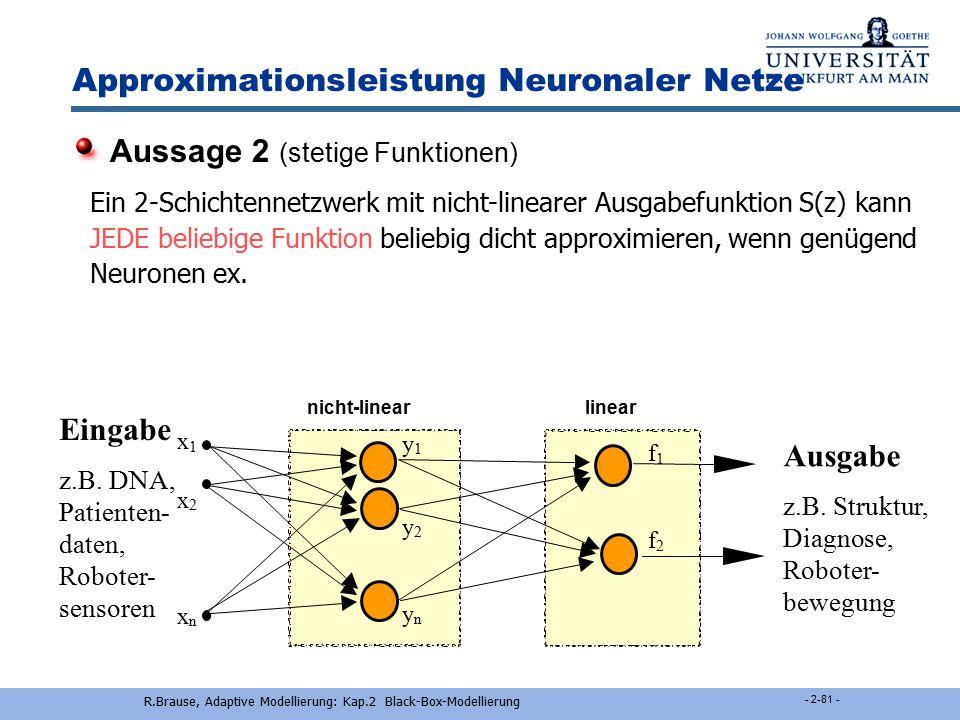 R.Brause, Adaptive Modellierung: Kap.2 Black-Box-Modellierung - 2-80 - Approximationsleistungen Neuronaler Netze Für die Funktionswerte jeder beliebig