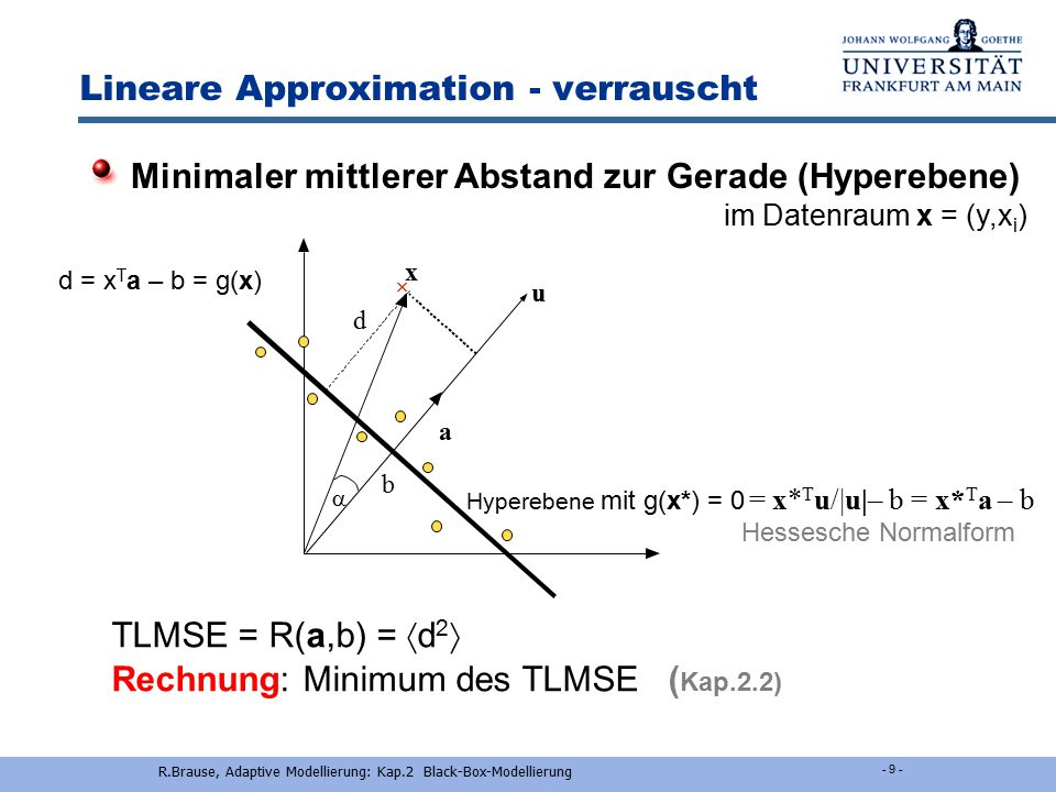 Lineare Approximation - verrauscht R.Brause, Adaptive Modellierung: Kap.2 Black-Box-Modellierung - 2-8 - Mehrere Variable Multiple Regression y(t) = f