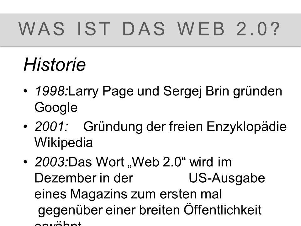 Was ist das Web 2.0 WAS IST DAS WEB 2.0? 1998:Larry Page und Sergej Brin gründen Google 2001: Gründung der freien Enzyklopädie Wikipedia 2003:Das Wort