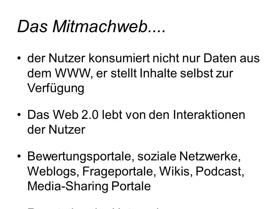 Das Mitmachweb.... der Nutzer konsumiert nicht nur Daten aus dem WWW, er stellt Inhalte selbst zur Verfügung Das Web 2.0 lebt von den Interaktionen de