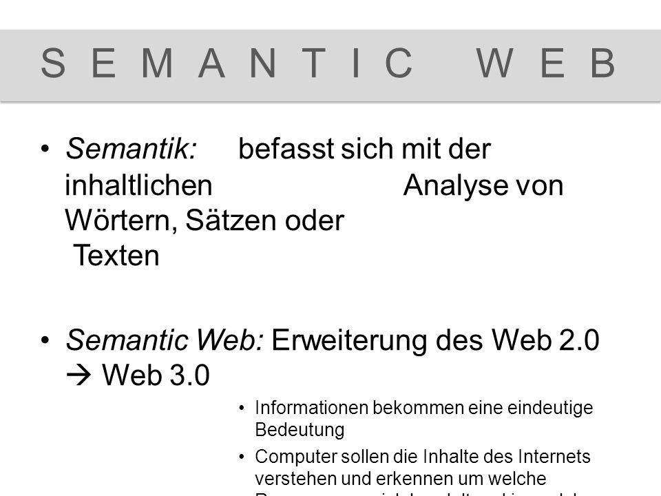 Semantik:befasst sich mit der inhaltlichen Analyse von Wörtern, Sätzen oder Texten Semantic Web:Erweiterung des Web 2.0  Web 3.0 Informationen bekomm