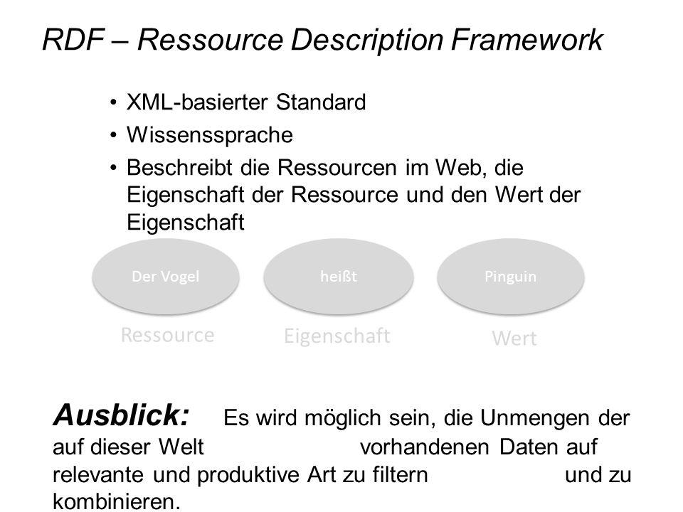 RDF – Ressource Description Framework XML-basierter Standard Wissenssprache Beschreibt die Ressourcen im Web, die Eigenschaft der Ressource und den We