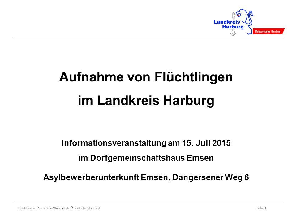 Fachbereich Soziales / Stabsstelle Öffentlichkeitsarbeit Folie 1 Aufnahme von Flüchtlingen im Landkreis Harburg Informationsveranstaltung am 15. Juli