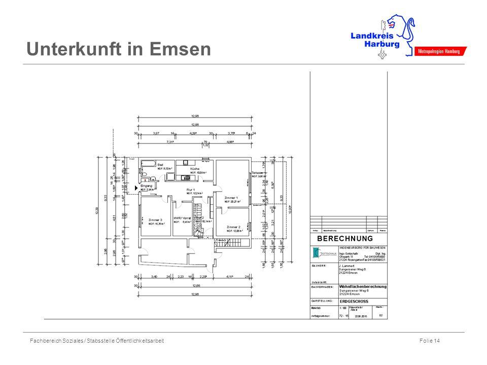 Fachbereich Soziales / Stabsstelle Öffentlichkeitsarbeit Folie 14 Unterkunft in Emsen