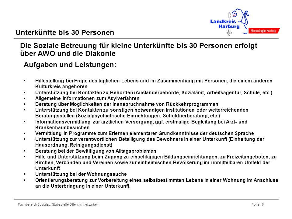 Fachbereich Soziales / Stabsstelle Öffentlichkeitsarbeit Folie 16 Unterkünfte bis 30 Personen Die Soziale Betreuung für kleine Unterkünfte bis 30 Pers