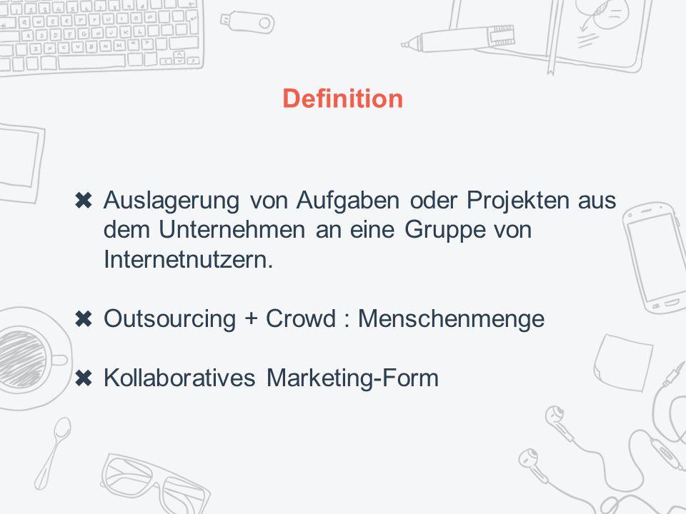 Definition ✖ Auslagerung von Aufgaben oder Projekten aus dem Unternehmen an eine Gruppe von Internetnutzern.