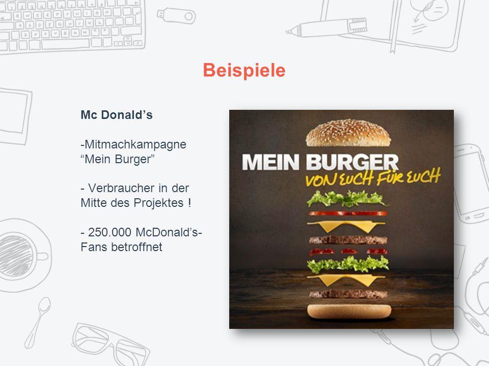 Beispiele Mc Donald's -Mitmachkampagne Mein Burger - Verbraucher in der Mitte des Projektes .