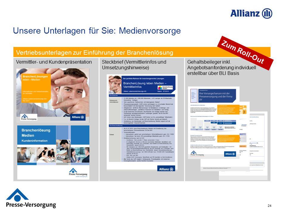 24 Unsere Unterlagen für Sie: Medienvorsorge Vertriebsunterlagen zur Einführung der Branchenlösung Vermittler- und KundenpräsentationSteckbrief (Vermi