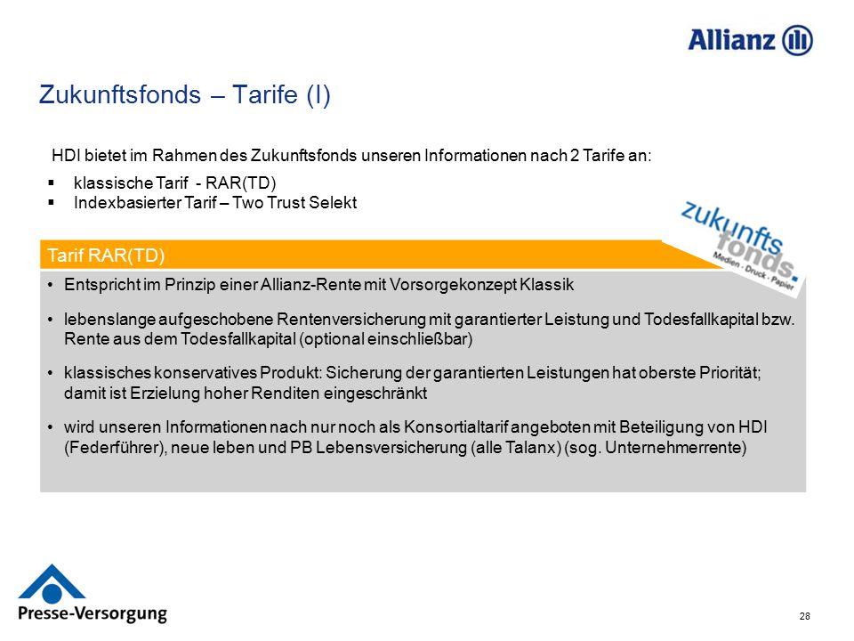 28 Zukunftsfonds – Tarife (I) HDI bietet im Rahmen des Zukunftsfonds unseren Informationen nach 2 Tarife an:  klassische Tarif - RAR(TD)  Indexbasie