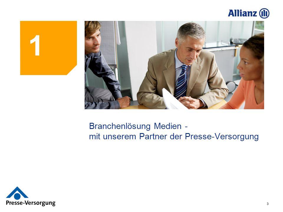 34 Das Konzept MedienPlan und seine Stärken Einheitliches Konzept von Allianz in Kooperation mit dem Versorgungswerk der Presse zur betrieblichen Altersvorsorge für alle Mitarbeiter in der Medienbranche in Unternehmen mit weniger als 25% pressefähigen Mitarbeitern.