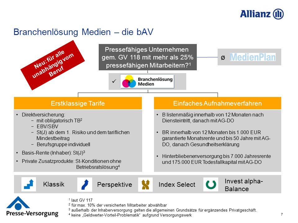 7. ø Branchenlösung Medien – die bAV Erstklassige TarifeEinfaches Aufnahmeverfahren Direktversicherung:  mit obligatorisch TB 2  EBV/SBV  St(J) ab