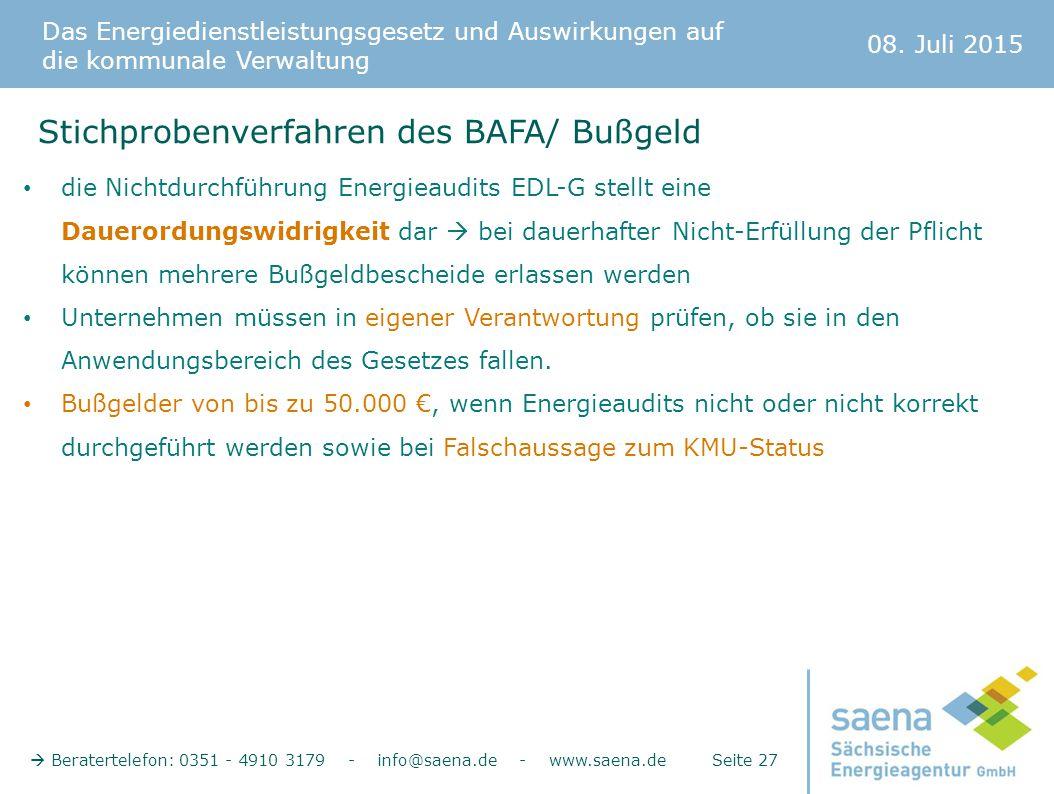 Das Energiedienstleistungsgesetz und Auswirkungen auf die kommunale Verwaltung 08. Juli 2015  Beratertelefon: 0351 - 4910 3179 - info@saena.de - www.