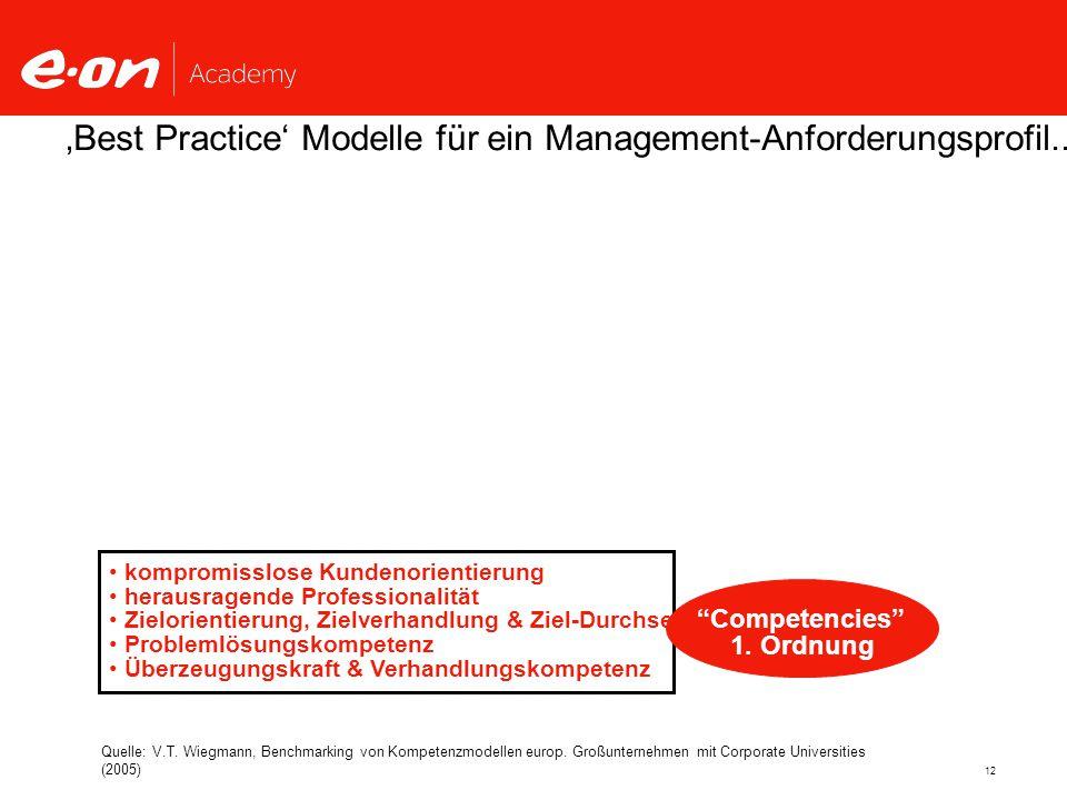 12 kompromisslose Kundenorientierung herausragende Professionalität Zielorientierung, Zielverhandlung & Ziel-Durchsetzung Problemlösungskompetenz Überzeugungskraft & Verhandlungskompetenz 'Best Practice' Modelle für ein Management-Anforderungsprofil...