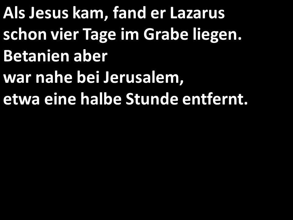 Als Jesus kam, fand er Lazarus schon vier Tage im Grabe liegen.