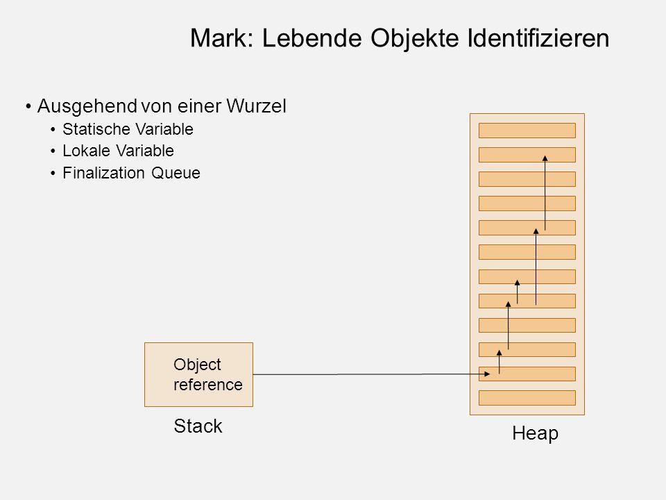 Object reference Stack Heap Mark: Lebende Objekte Identifizieren Ausgehend von einer Wurzel Statische Variable Lokale Variable Finalization Queue