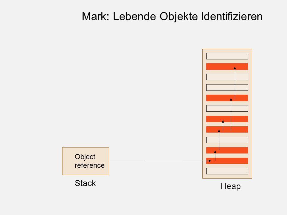 Object reference Stack Heap Mark: Lebende Objekte Identifizieren