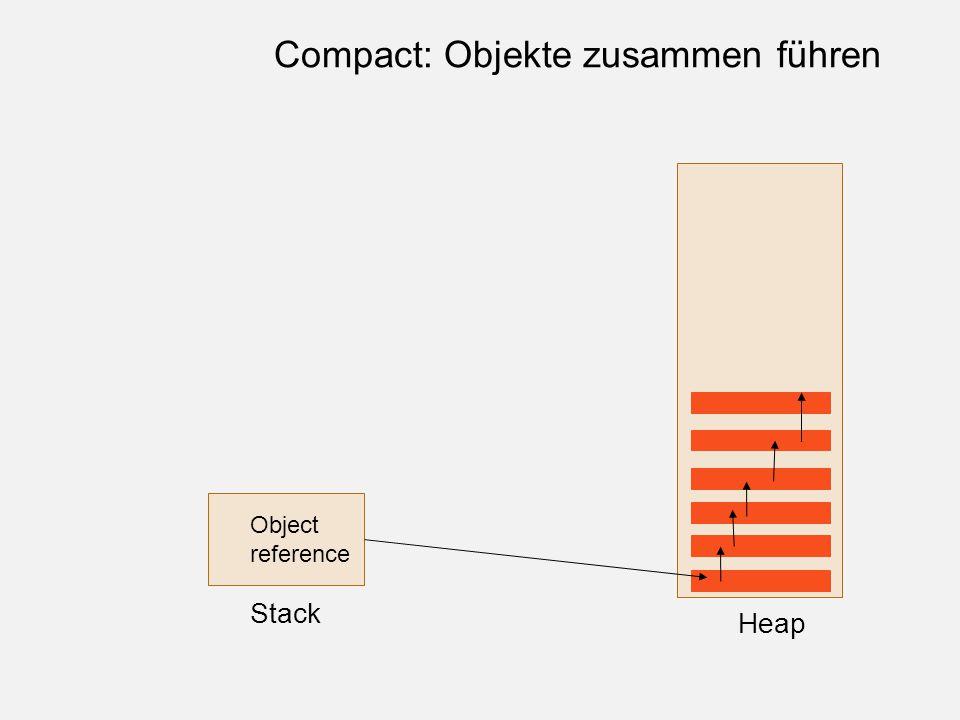 Object reference Stack Heap Compact: Objekte zusammen führen