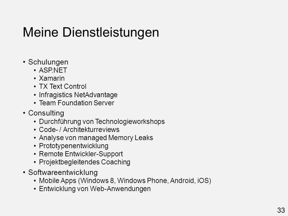 Meine Dienstleistungen Schulungen ASP.NET Xamarin TX Text Control Infragistics NetAdvantage Team Foundation Server Consulting Durchführung von Technol