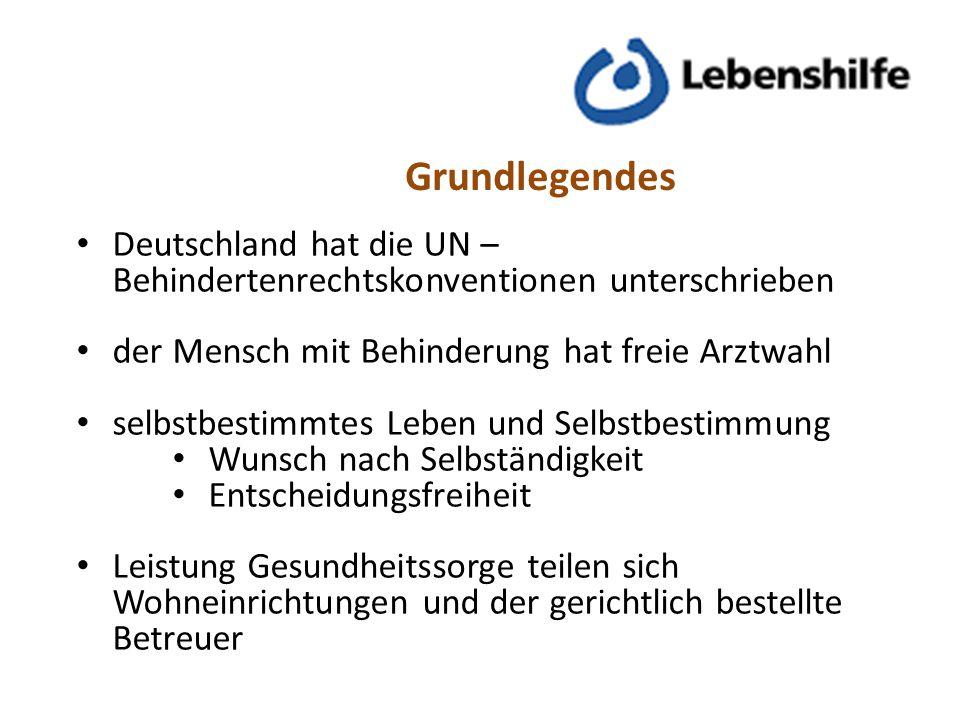 Grundlegendes Deutschland hat die UN – Behindertenrechtskonventionen unterschrieben der Mensch mit Behinderung hat freie Arztwahl selbstbestimmtes Leb