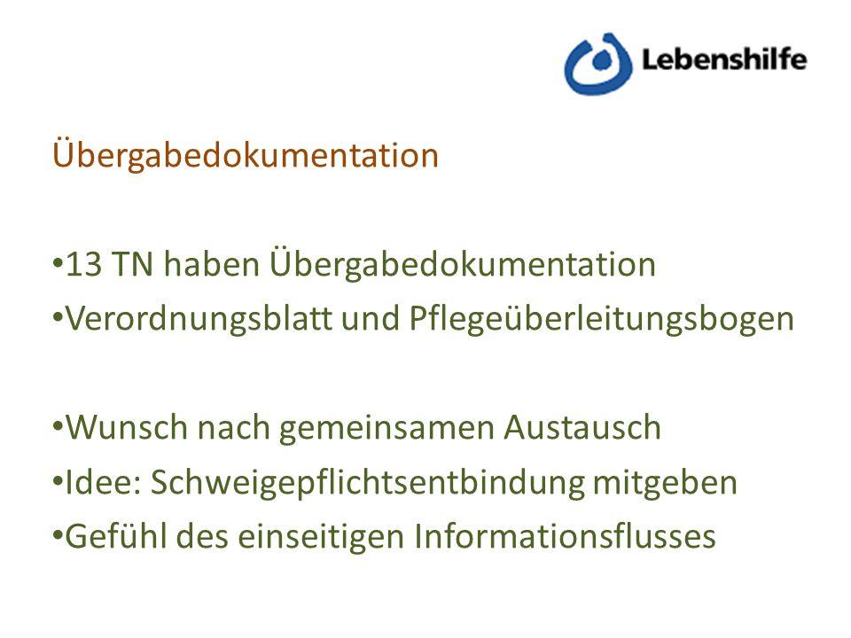 Übergabedokumentation 13 TN haben Übergabedokumentation Verordnungsblatt und Pflegeüberleitungsbogen Wunsch nach gemeinsamen Austausch Idee: Schweigep