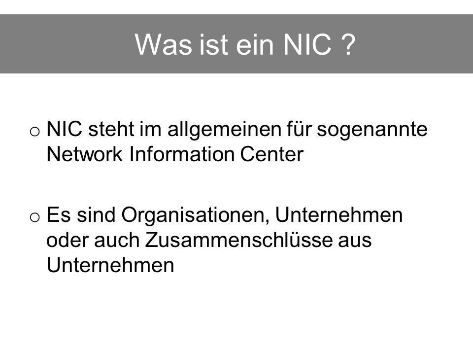 Was sind die Aufgaben eines NIC.