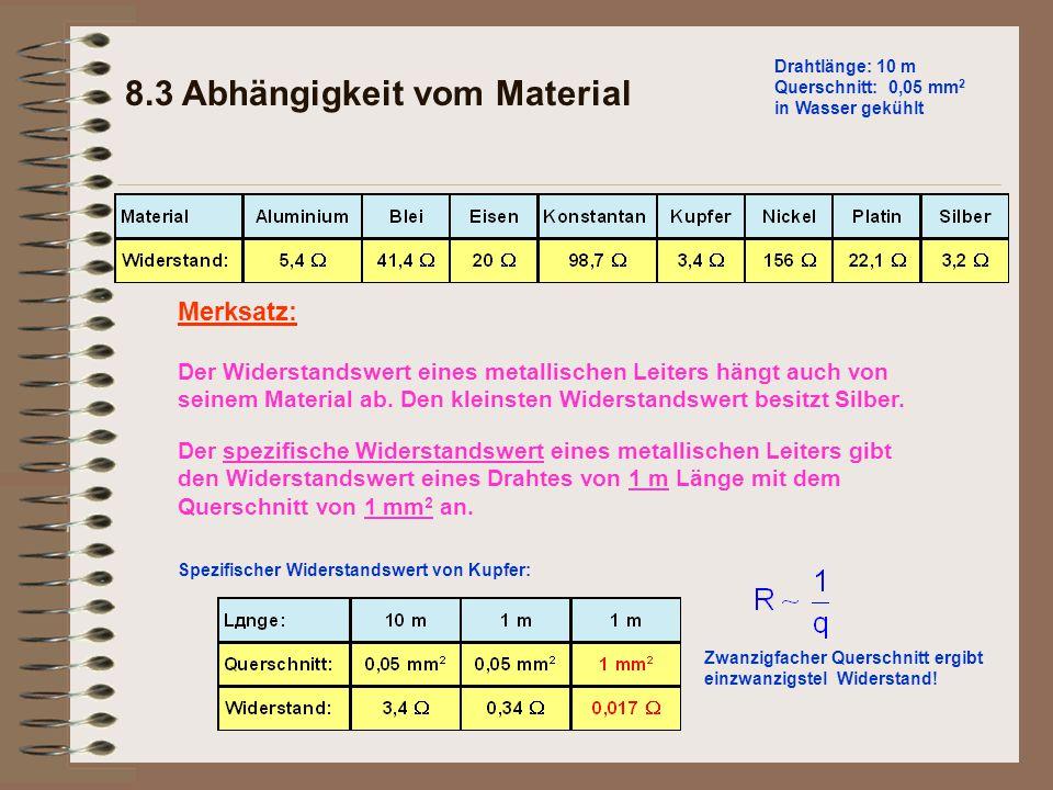 Der Widerstandswert eines metallischen Leiters hängt auch von seinem Material ab. Den kleinsten Widerstandswert besitzt Silber. Merksatz: 8.3 Abhängig