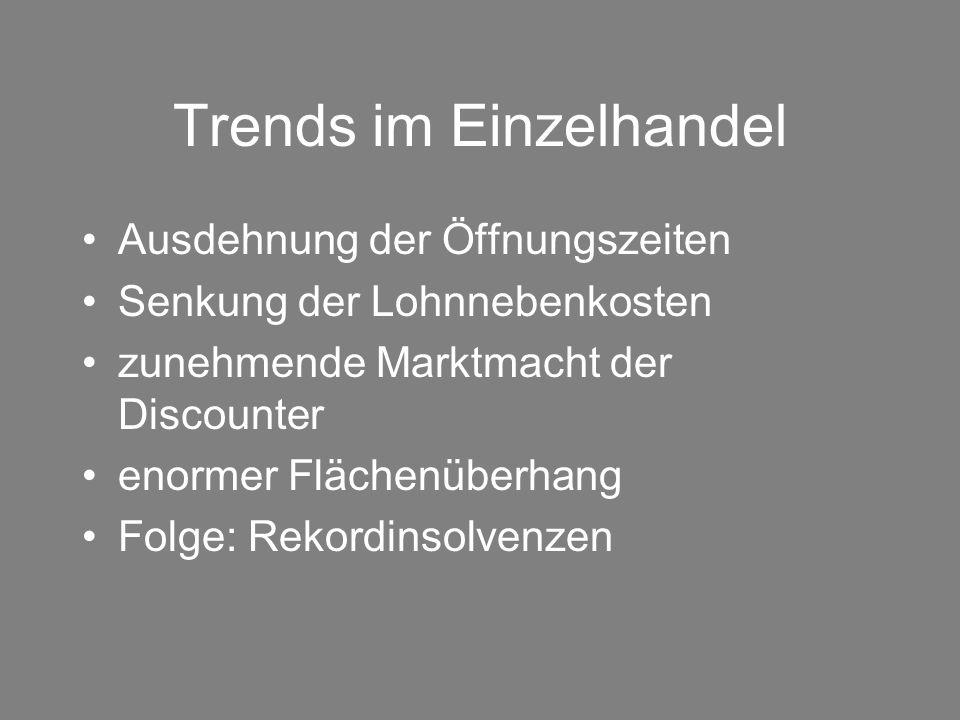 Trends im Einzelhandel Ausdehnung der Öffnungszeiten Senkung der Lohnnebenkosten zunehmende Marktmacht der Discounter enormer Flächenüberhang Folge: R